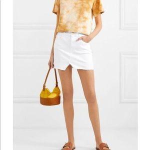 FRAME White Le Mini Distressed Denim Skirt